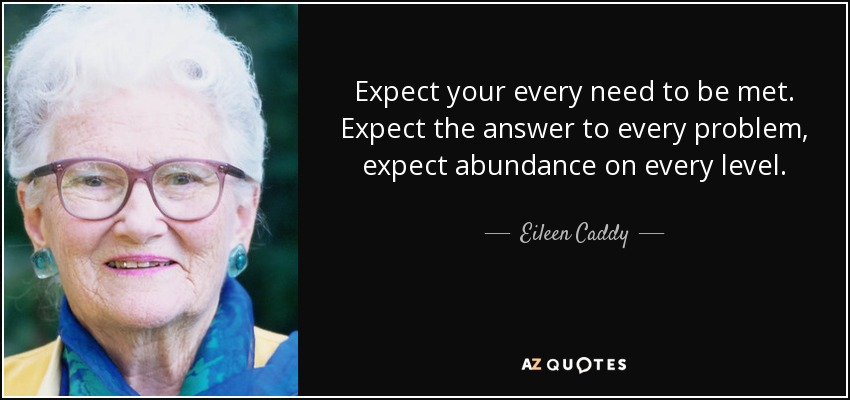 Expect your every need to be met. Expect the answer to every problem, expect abundance on every level. - Eileen Caddy