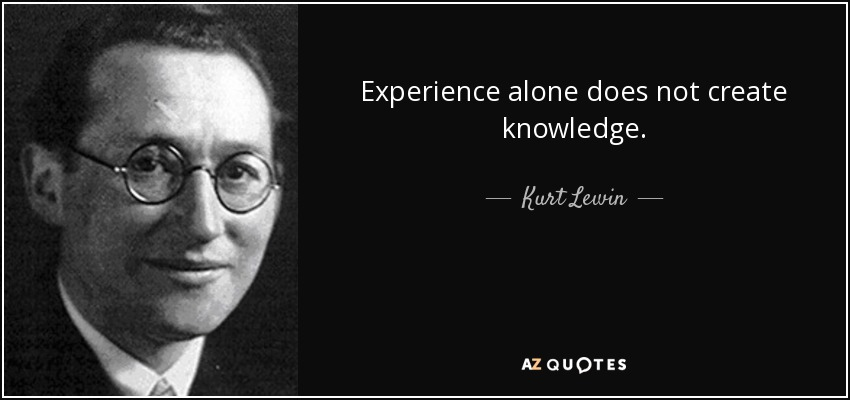 kurt lewin quote experience alone does not create knowledge
