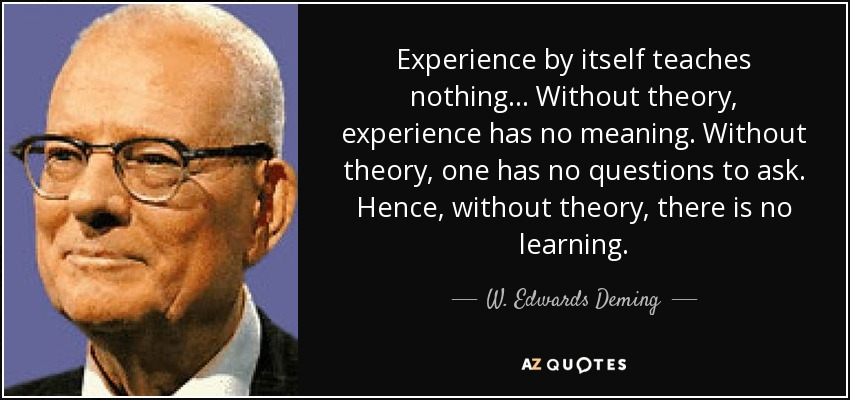 Experience by itself teaches nothing... Without theory, experience has no meaning. Without theory, one has no questions to ask. Hence, without theory, there is no learning. - W. Edwards Deming