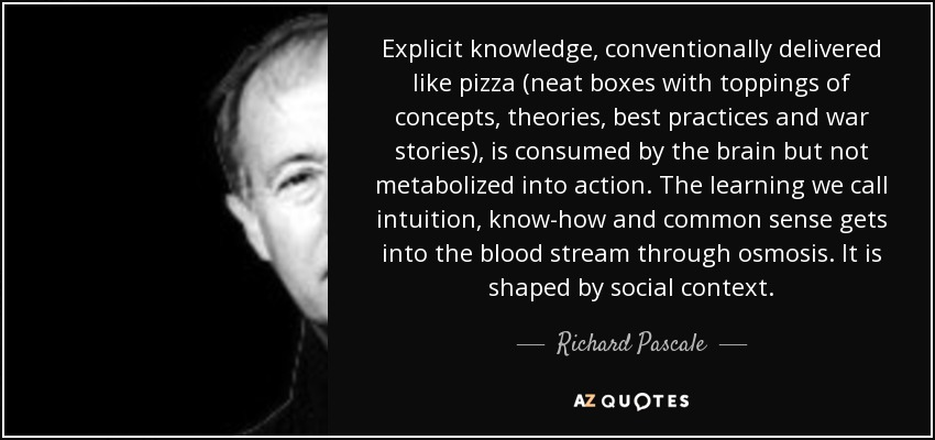 Explicit knowledge, conventionally delivered like pizza (neat boxes with toppings of concepts, theories, best practices and war stories), is consumed by the brain but not metabolized into action. The learning we call intuition, know-how and common sense gets into the blood stream through osmosis. It is shaped by social context. - Richard Pascale