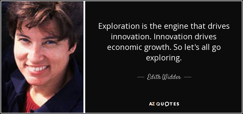 Exploration is the engine that drives innovation. Innovation drives economic growth. So let's all go exploring. - Edith Widder