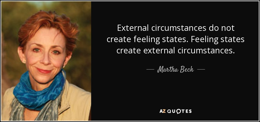 External circumstances do not create feeling states. Feeling states create external circumstances. - Martha Beck