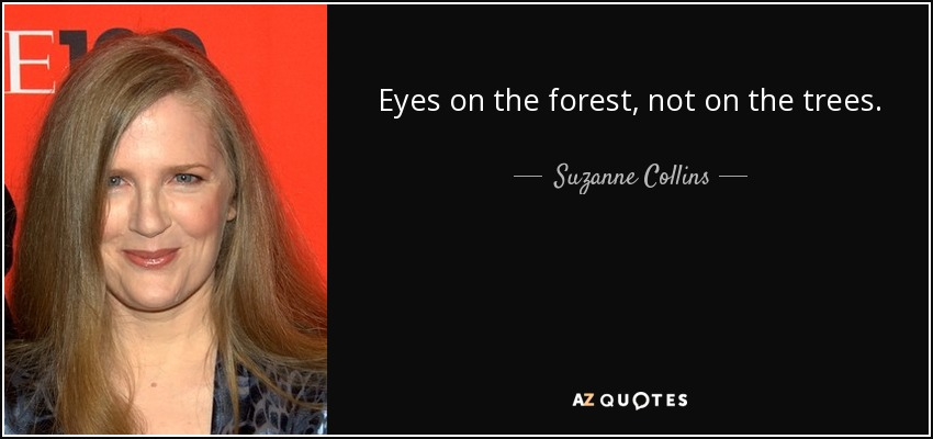 Eyes on the forest, not on the trees. - Suzanne Collins