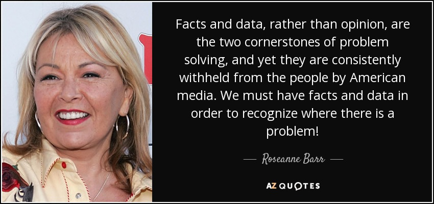 Facts and data, rather than opinion, are the two cornerstones of problem solving, and yet they are consistently withheld from the people by American media. We must have facts and data in order to recognize where there is a problem! - Roseanne Barr