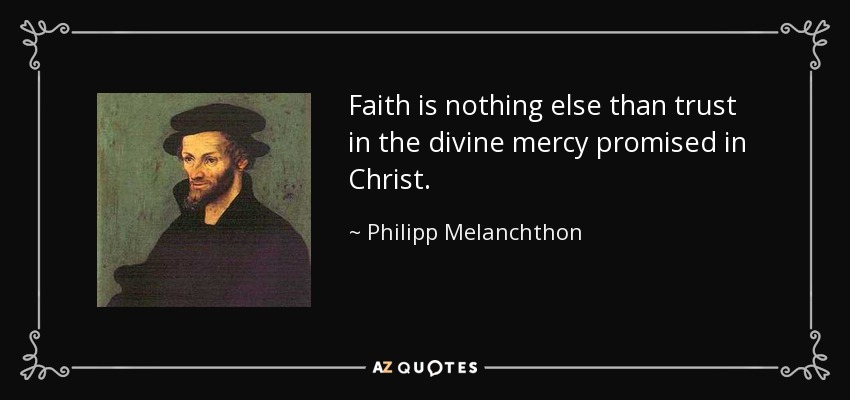 Faith is nothing else than trust in the divine mercy promised in Christ. - Philipp Melanchthon