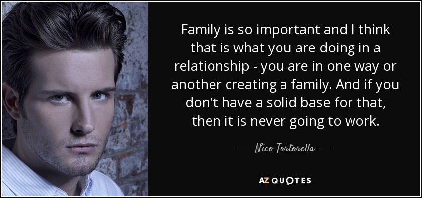 Family is so important and I think that is what you are doing in a relationship - you are in one way or another creating a family. And if you don't have a solid base for that, then it is never going to work. - Nico Tortorella