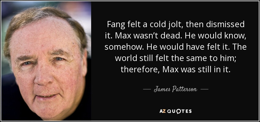 Fang felt a cold jolt, then dismissed it. Max wasn't dead. He would know, somehow. He would have felt it. The world still felt the same to him; therefore, Max was still in it. - James Patterson