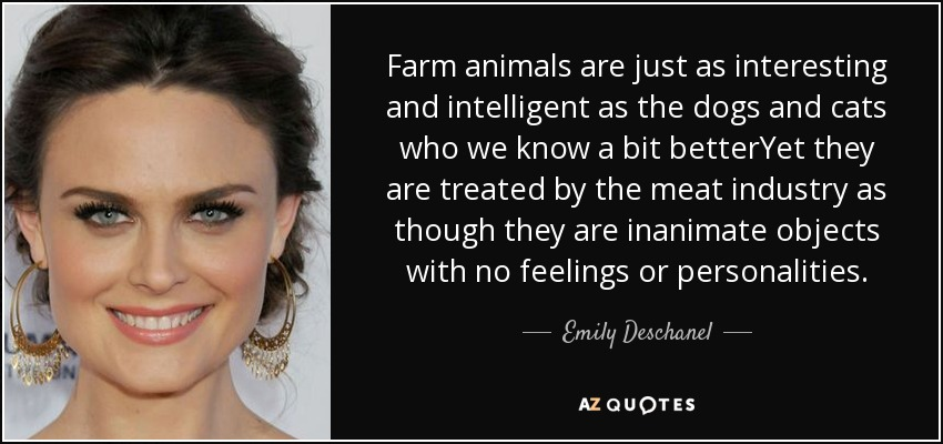 Farm animals are just as interesting and intelligent as the dogs and cats who we know a bit betterYet they are treated by the meat industry as though they are inanimate objects with no feelings or personalities. - Emily Deschanel