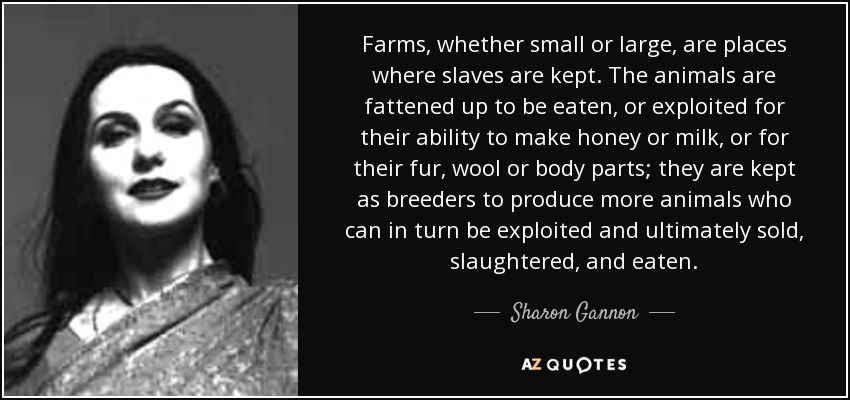 Farms, whether small or large, are places where slaves are kept. The animals are fattened up to be eaten, or exploited for their ability to make honey or milk, or for their fur, wool or body parts; they are kept as breeders to produce more animals who can in turn be exploited and ultimately sold, slaughtered, and eaten. - Sharon Gannon