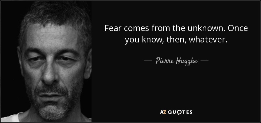 Fear comes from the unknown. Once you know, then, whatever. - Pierre Huyghe