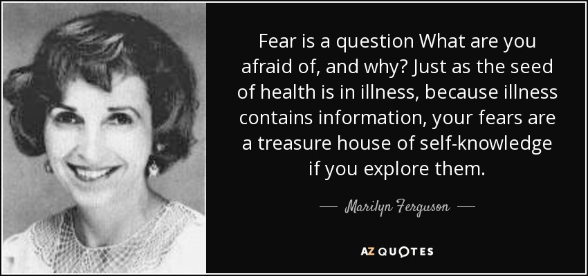Fear is a question What are you afraid of, and why? Just as the seed of health is in illness, because illness contains information, your fears are a treasure house of self-knowledge if you explore them. - Marilyn Ferguson
