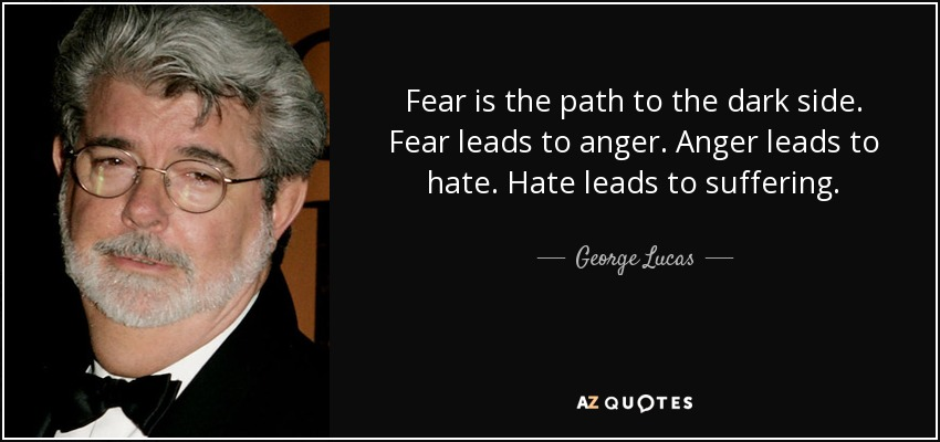 Fear is the path to the dark side. Fear leads to anger. Anger leads to hate. Hate leads to suffering. - George Lucas
