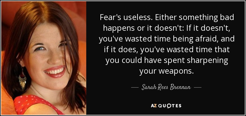 Fear's useless. Either something bad happens or it doesn't: If it doesn't, you've wasted time being afraid, and if it does, you've wasted time that you could have spent sharpening your weapons. - Sarah Rees Brennan