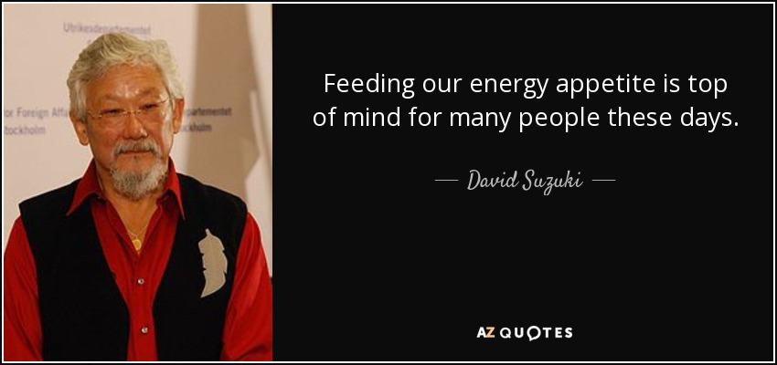 Feeding our energy appetite is top of mind for many people these days. - David Suzuki