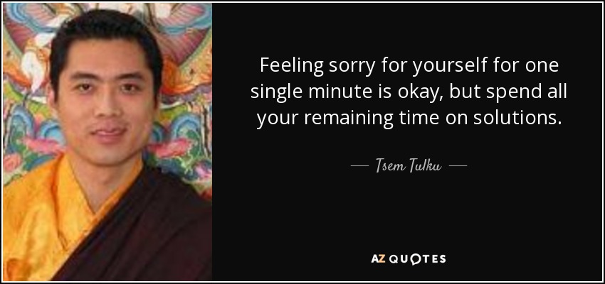 Feeling sorry for yourself for one single minute is okay, but spend all your remaining time on solutions. - Tsem Tulku