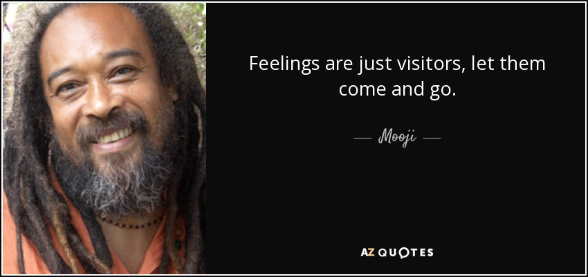 Feelings are just visitors, let them come and go. - Mooji