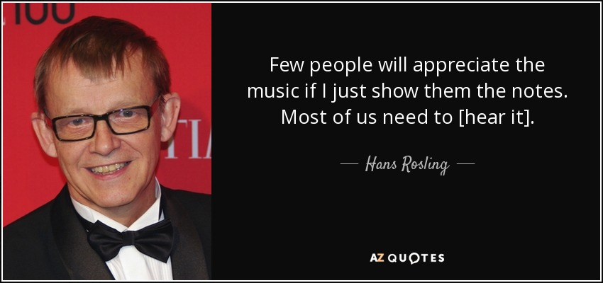 Few people will appreciate the music if I just show them the notes. Most of us need to [hear it]. - Hans Rosling