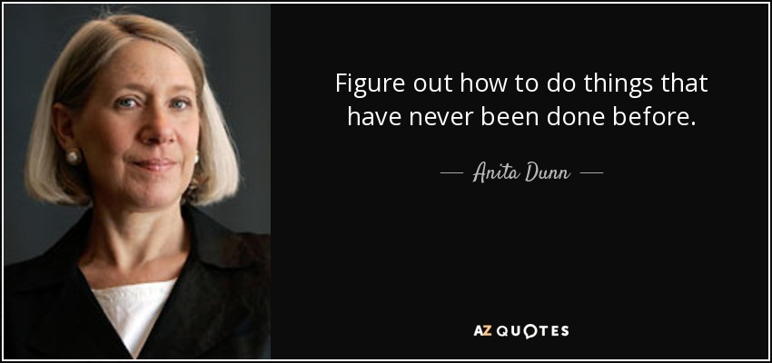 Figure out how to do things that have never been done before. - Anita Dunn