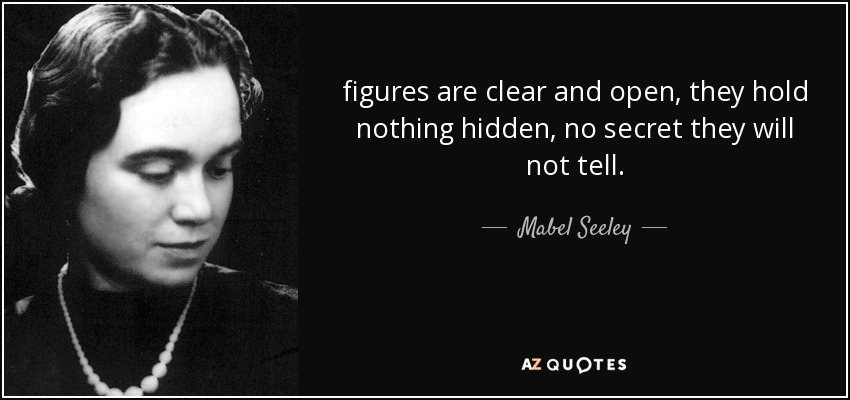 figures are clear and open, they hold nothing hidden, no secret they will not tell. - Mabel Seeley