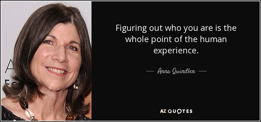 Figuring out who you are is the whole point of the human experience. - Anna Quindlen