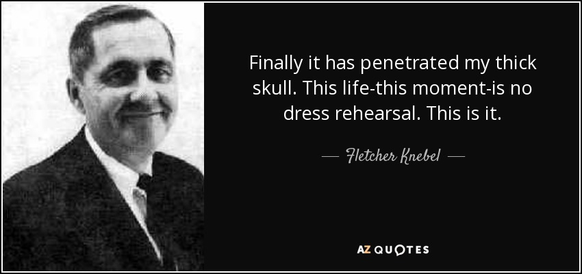 Finally it has penetrated my thick skull. This life-this moment-is no dress rehearsal. This is it. - Fletcher Knebel