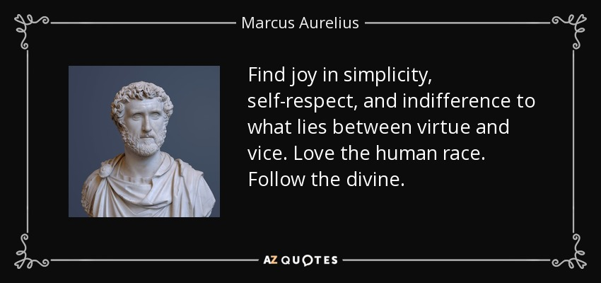 Find joy in simplicity, self-respect, and indifference to what lies between virtue and vice. Love the human race. Follow the divine. - Marcus Aurelius