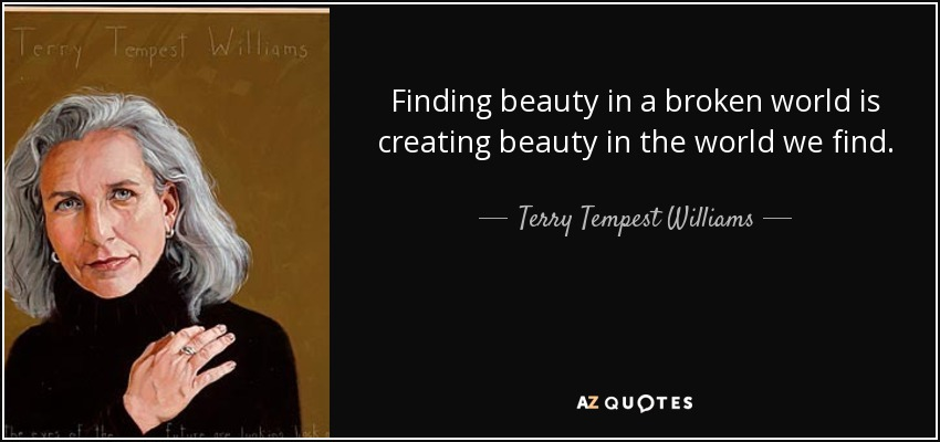 Finding beauty in a broken world is creating beauty in the world we find. - Terry Tempest Williams
