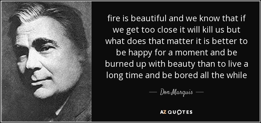 fire is beautiful and we know that if we get too close it will kill us but what does that matter it is better to be happy for a moment and be burned up with beauty than to live a long time and be bored all the while - Don Marquis