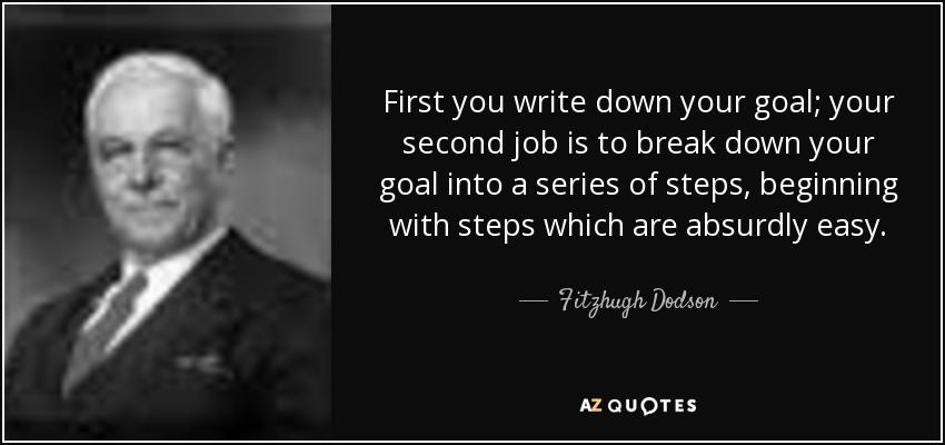 First you write down your goal; your second job is to break down your goal into a series of steps, beginning with steps which are absurdly easy. - Fitzhugh Dodson