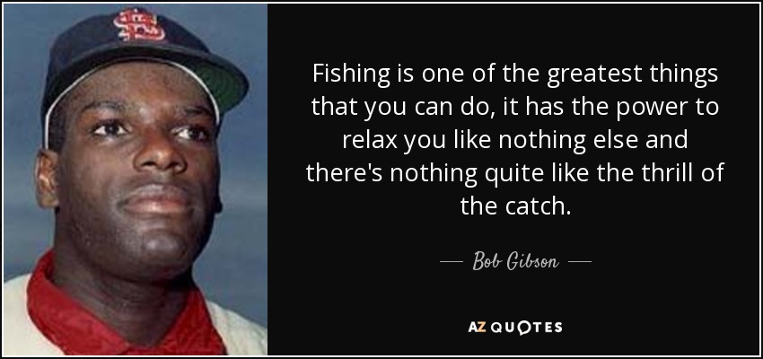 Fishing is one of the greatest things that you can do, it has the power to relax you like nothing else and there's nothing quite like the thrill of the catch. - Bob Gibson