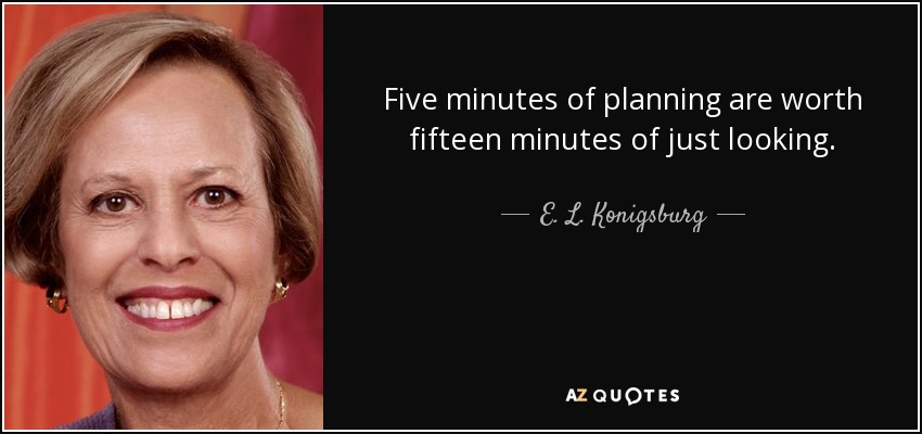 Five minutes of planning are worth fifteen minutes of just looking. - E. L. Konigsburg
