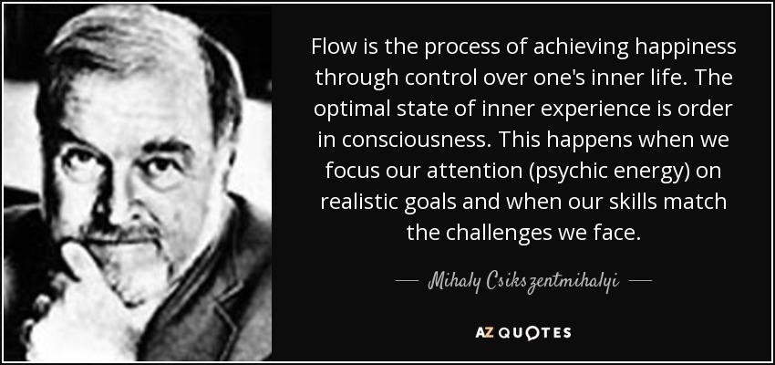 Flow is the process of achieving happiness through control over one's inner life. The optimal state of inner experience is order in consciousness. This happens when we focus our attention (psychic energy) on realistic goals and when our skills match the challenges we face. - Mihaly Csikszentmihalyi