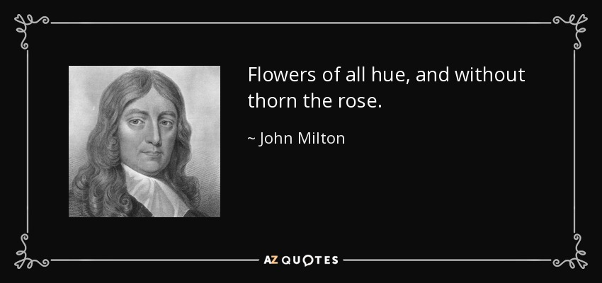 Flowers of all hue, and without thorn the rose. - John Milton