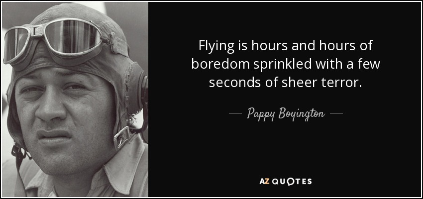 Flying is hours and hours of boredom sprinkled with a few seconds of sheer terror. - Pappy Boyington