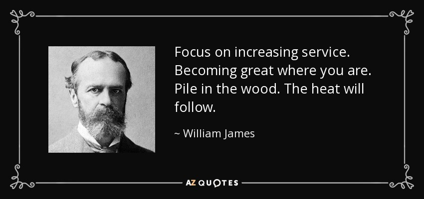 Focus on increasing service. Becoming great where you are. Pile in the wood. The heat will follow. - William James
