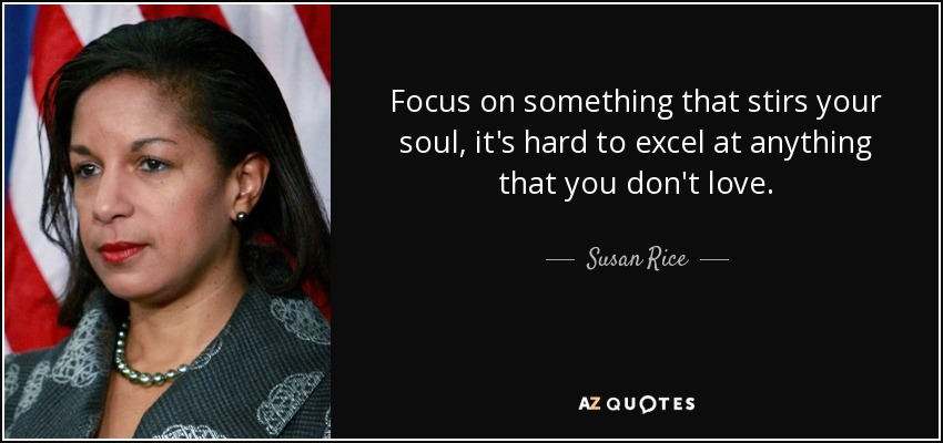 Focus on something that stirs your soul, it's hard to excel at anything that you don't love. - Susan Rice