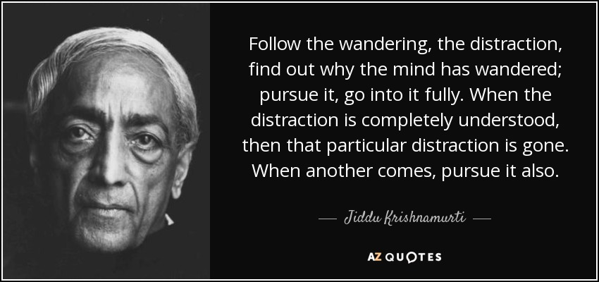 Follow the wandering, the distraction, find out why the mind has wandered; pursue it, go into it fully. When the distraction is completely understood, then that particular distraction is gone. When another comes, pursue it also. - Jiddu Krishnamurti