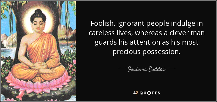 Foolish, ignorant people indulge in careless lives, whereas a clever man guards his attention as his most precious possession. - Gautama Buddha