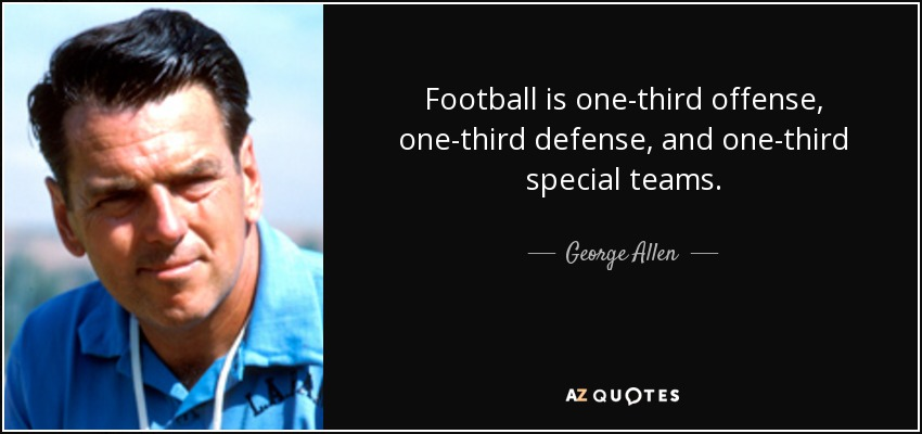 Football is one-third offense, one-third defense, and one-third special teams. - George Allen