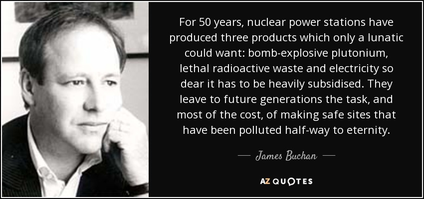For 50 years, nuclear power stations have produced three products which only a lunatic could want: bomb-explosive plutonium, lethal radioactive waste and electricity so dear it has to be heavily subsidised. They leave to future generations the task, and most of the cost, of making safe sites that have been polluted half-way to eternity. - James Buchan