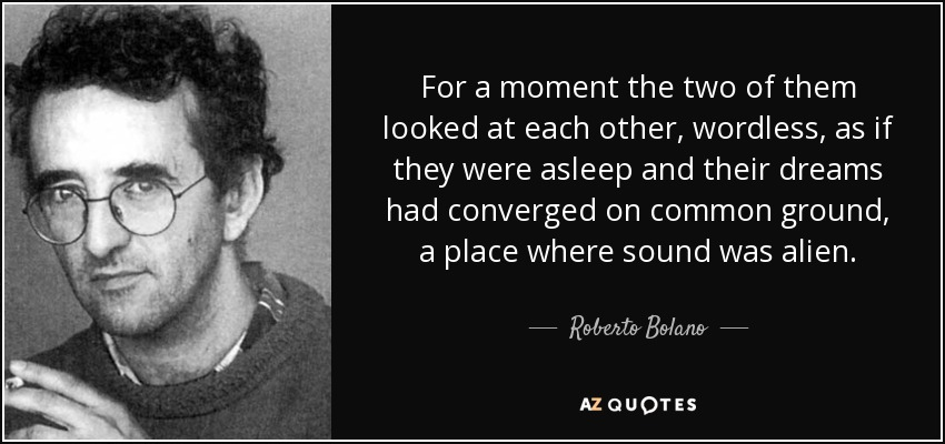 For a moment the two of them looked at each other, wordless, as if they were asleep and their dreams had converged on common ground, a place where sound was alien. - Roberto Bolano