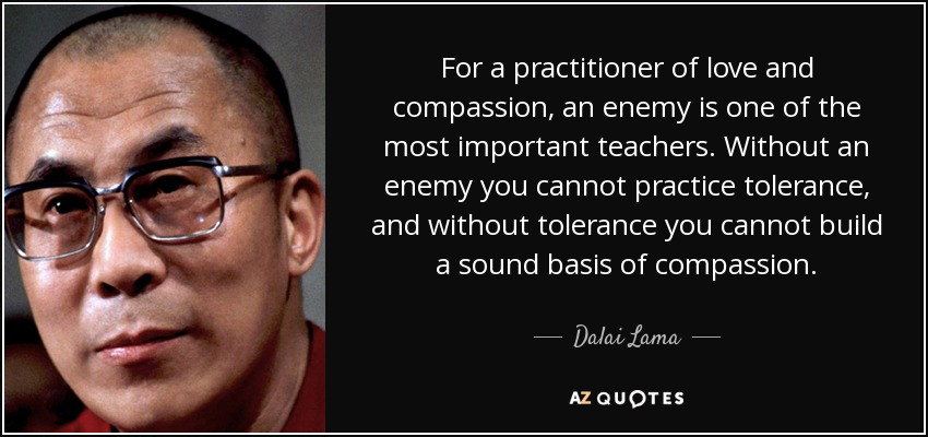For a practitioner of love and compassion, an enemy is one of the most important teachers. Without an enemy you cannot practice tolerance, and without tolerance you cannot build a sound basis of compassion. - Dalai Lama