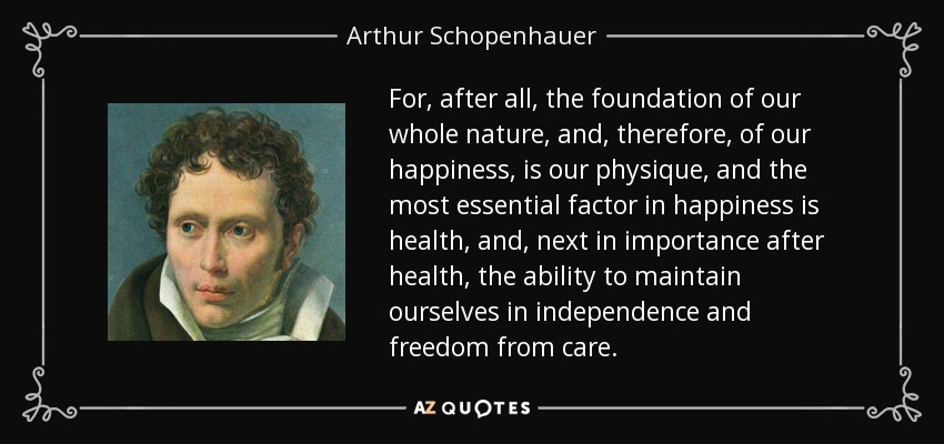 For, after all, the foundation of our whole nature, and, therefore, of our happiness, is our physique, and the most essential factor in happiness is health, and, next in importance after health, the ability to maintain ourselves in independence and freedom from care. - Arthur Schopenhauer