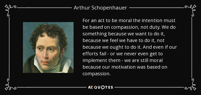 For an act to be moral the intention must be based on compassion, not duty. We do something because we want to do it, because we feel we have to do it, not because we ought to do it. And even if our efforts fail - or we never even get to implement them - we are still moral because our motivation was based on compassion. - Arthur Schopenhauer