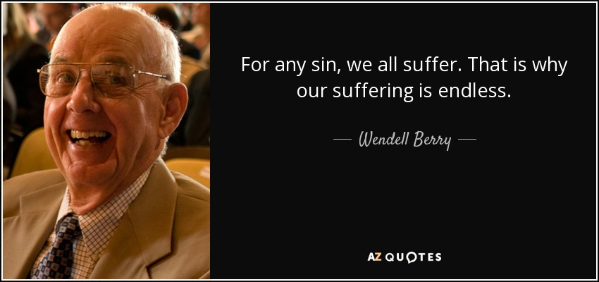 For any sin, we all suffer. That is why our suffering is endless. - Wendell Berry
