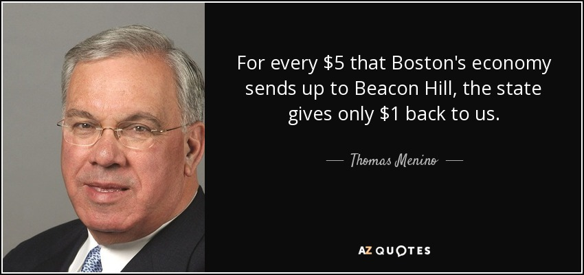 For every $5 that Boston's economy sends up to Beacon Hill, the state gives only $1 back to us. - Thomas Menino