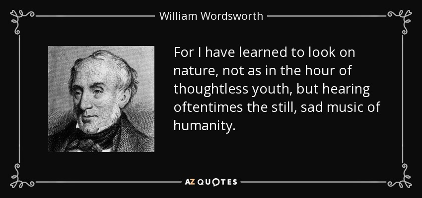 For I have learned to look on nature, not as in the hour of thoughtless youth, but hearing oftentimes the still, sad music of humanity. - William Wordsworth