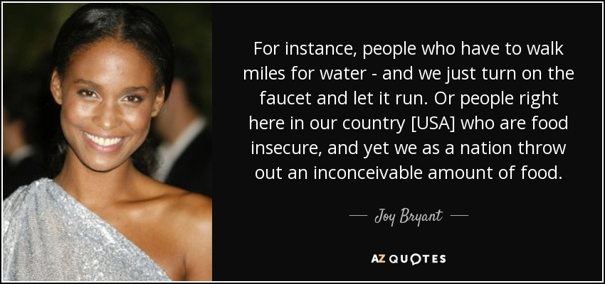 For instance, people who have to walk miles for water - and we just turn on the faucet and let it run. Or people right here in our country [USA] who are food insecure, and yet we as a nation throw out an inconceivable amount of food. - Joy Bryant