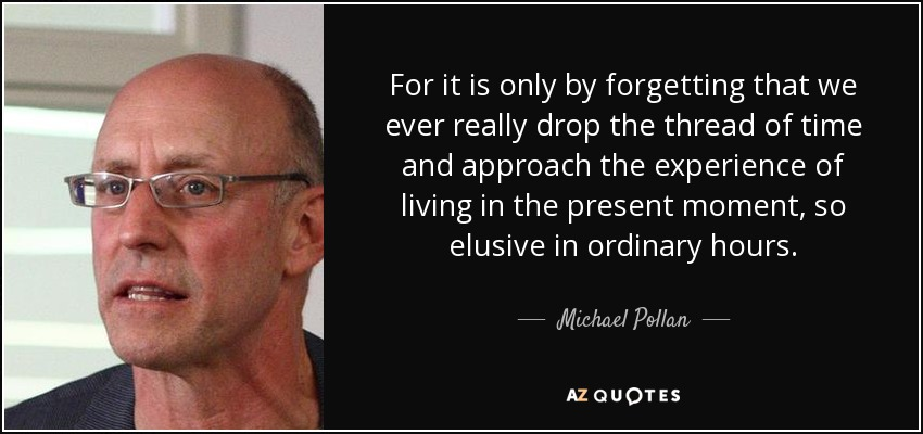 For it is only by forgetting that we ever really drop the thread of time and approach the experience of living in the present moment, so elusive in ordinary hours. - Michael Pollan