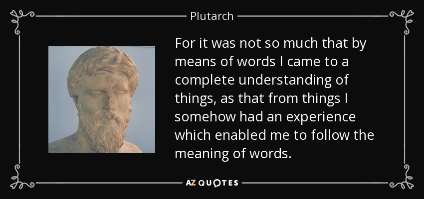 For it was not so much that by means of words I came to a complete understanding of things, as that from things I somehow had an experience which enabled me to follow the meaning of words. - Plutarch